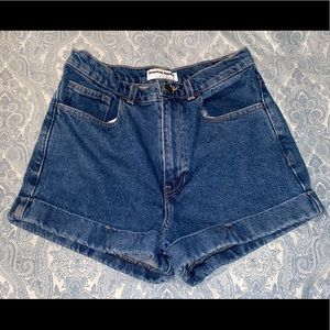 High Waist Denim Cuff Short